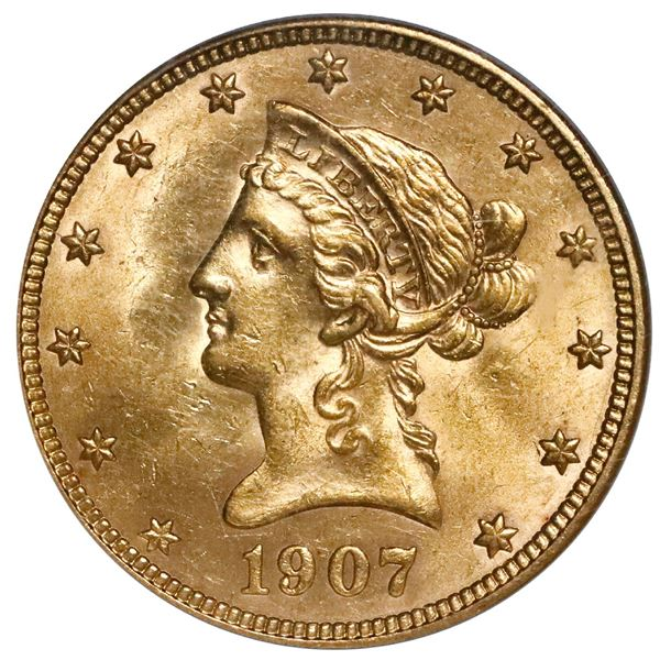 USA (Philadelphia Mint), $10 coronet Liberty eagle, 1907, NGC MS 61 (older holder).