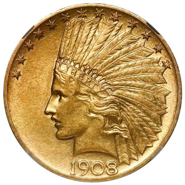 USA (Philadelphia mint), $10 Indian Head, with motto, 1908, NGC AU 58.