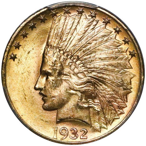 USA (Philadelphia mint), $10 Indian Head, 1932, PCGS MS63, with PQ sticker.