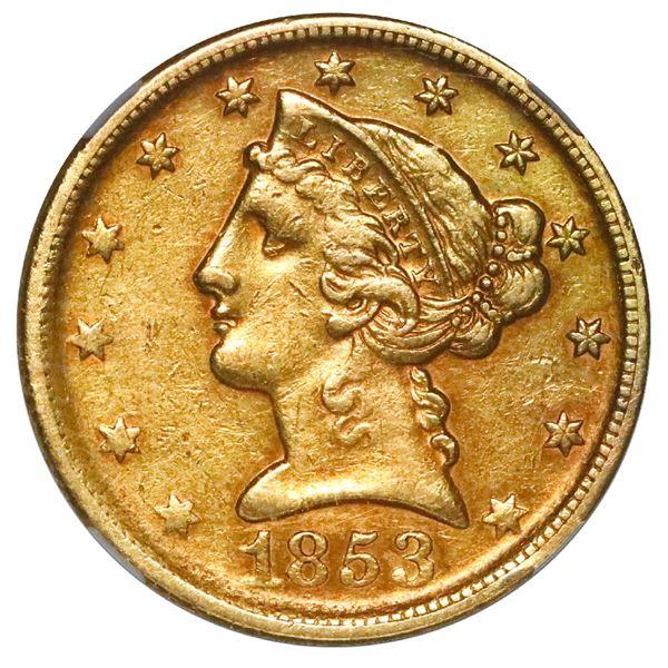 USA (Dahlonega mint), $5 coronet Liberty half eagle, 1853-D, NGC AU details / cleaned.