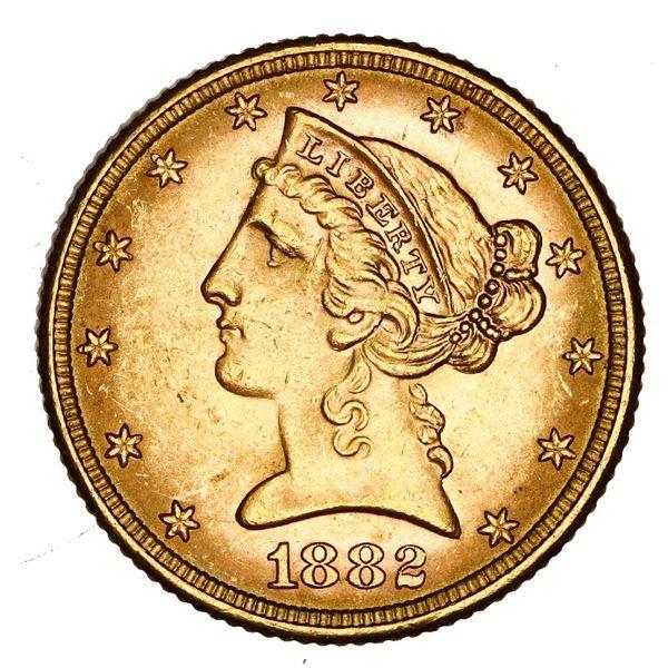 USA (Philadelphia mint), $5 coronet Liberty half eagle, 1882, NGC MS 63.