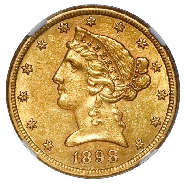 USA (San Francisco mint), $5 coronet Liberty half eagle, 1898-S, NGC AU 58.
