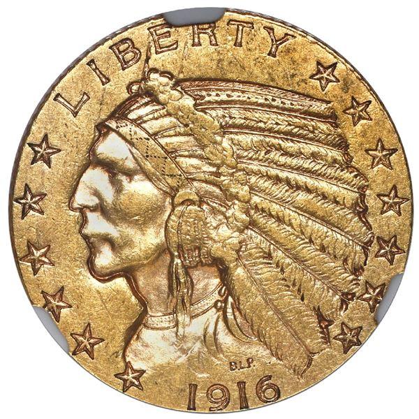 USA (San Francisco mint), $5 Indian Head half eagle, 1916-S, NGC AU 55.
