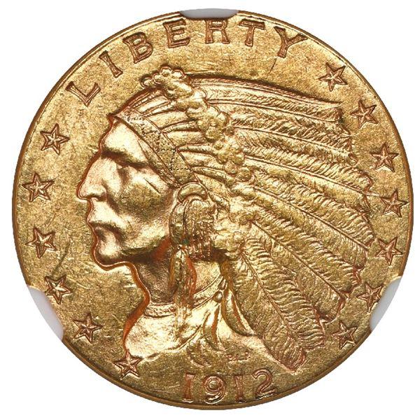 USA (Philadelphia mint), $2-1/2 Indian Head quarter eagle, 1912, NGC MS 61.