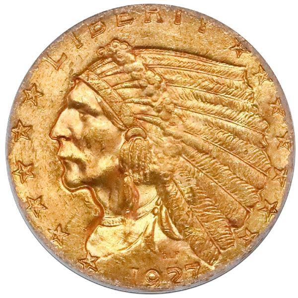 USA (Philadelphia mint), $2-1/2 Indian Head quarter eagle, 1927, PCGS MS64 with green CAC sticker.