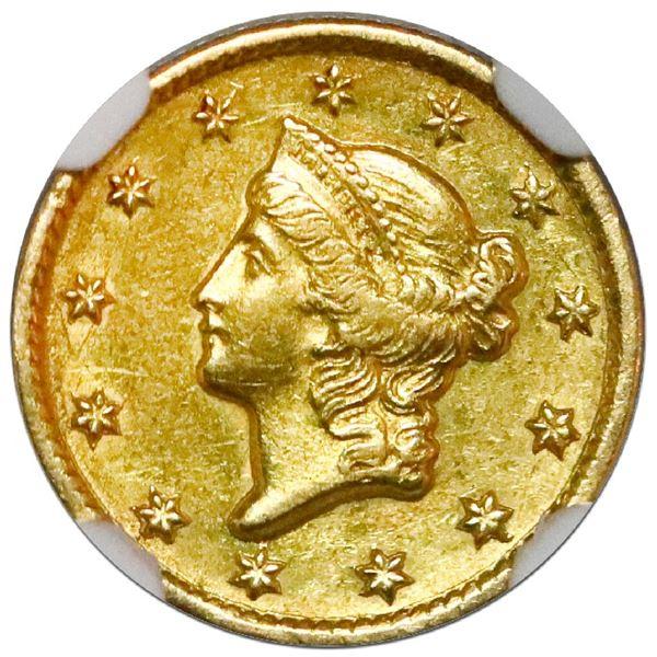 USA (Charlotte Mint), gold $1 coronet Liberty (Type I), 1851-C, variety 1, NGC AU 58.