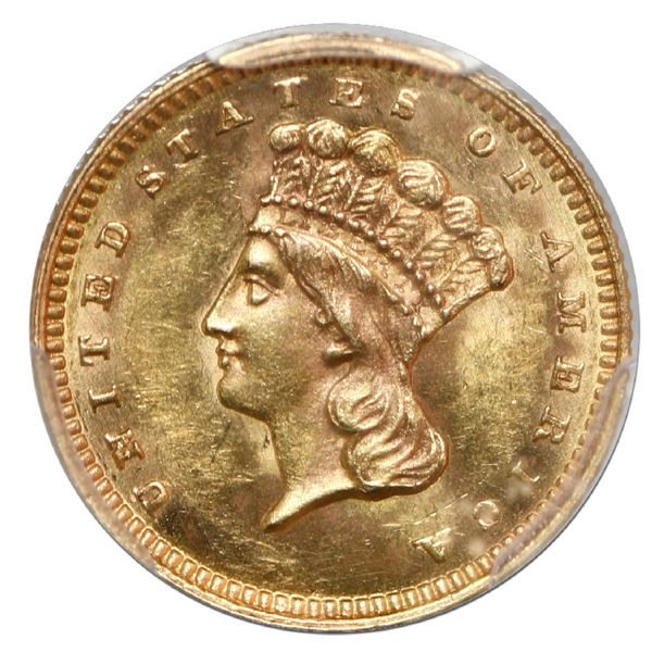 USA (Philadelphia mint), gold $1 Indian princess (Type III), 1862, PCGS MS62 with green CAC sticker.