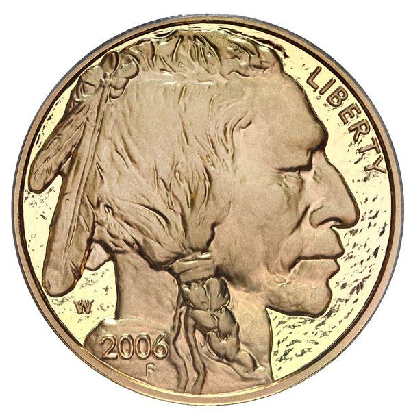 USA (West Point mint), gold proof $50 American Buffalo, 2006-W, PCGS PR70DCAM.
