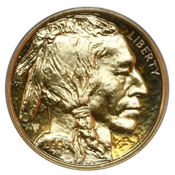 USA (West Point mint), gold proof $5 American Buffalo, 2008-W, PCGS PR69DCAM.