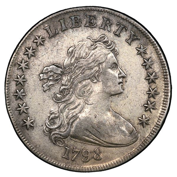 USA (Philadelphia Mint), Draped Bust silver dollar, 1798, large eagle, pointed nine, close date, fou