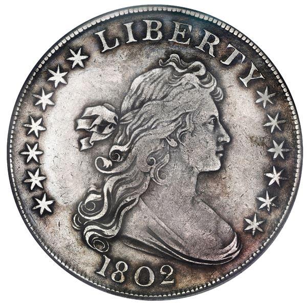 USA (Philadelphia Mint), Draped Bust silver dollar, 1802, narrow date, PCGS VF details / cleaned.