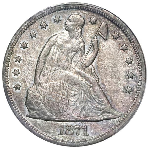 USA (Philadelphia Mint), Seated Liberty silver dollar, 1871, PCGS XF40.