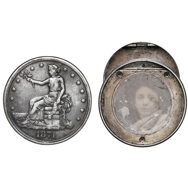 USA (San Francisco Mint), Seated Liberty silver trade dollar, 1874-S, crafted into a box dollar with