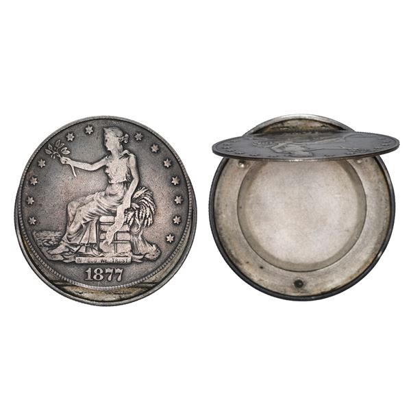 USA (San Francisco Mint), Seated Liberty silver trade dollar, 1877-S, crafted into a box dollar.