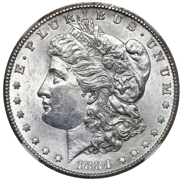 USA (Carson City Mint), Morgan dollar, 1884-CC, NGC UNC details / cleaned.