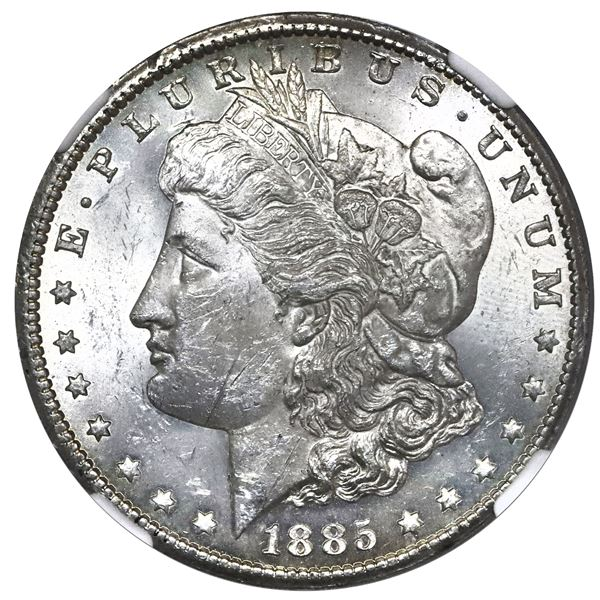 USA (Carson City Mint), Morgan dollar, 1885-CC, NGC MS 61, with special mint label.