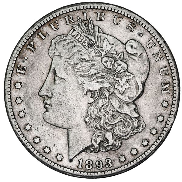 USA (Carson City Mint), Morgan dollar, 1893-CC, NGC XF detailed / cleaned, with special mint label.