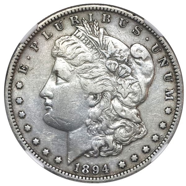 USA (Philadelphia Mint), Morgan dollar, 1894, NGC VF details / cleaned.