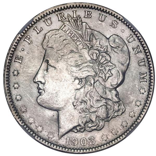 USA (New Orleans Mint), Morgan dollar, 1903-O, NGC UNC details / obverse damage.