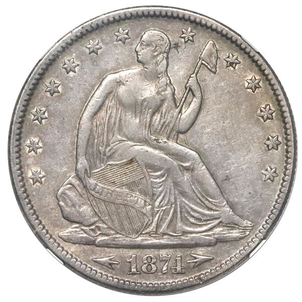 USA (Philadelphia Mint), Seated Liberty half dollar, 1874, arrows, NGC XF 45.