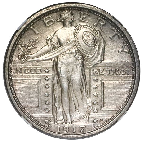 USA (San Francisco Mint), Standing Liberty quarter, 1917-S, type one, NGC UNC details / cleaned.