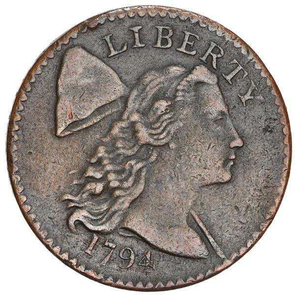 USA (Philadelphia mint), copper Flowing Hair 1 cent, 1794, head of 1794, S-57, B-55, R.1, NGC AU det