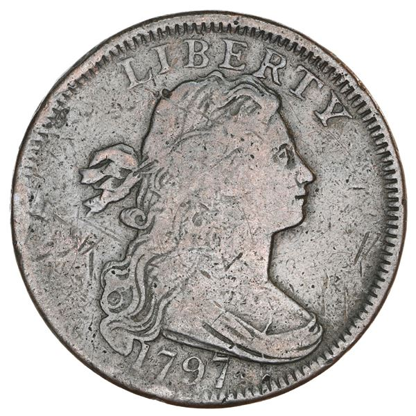 USA (Philadelphia mint), copper Draped Bust 1 cent, 1797, with stems, reverse of 1797, M over E vari