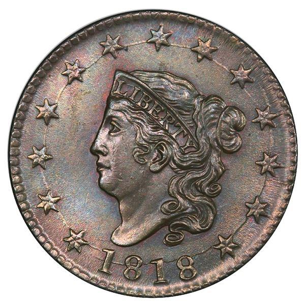 USA (Philadelphia Mint), copper Coronet Head cent, 1818, PCGS MS62BN.