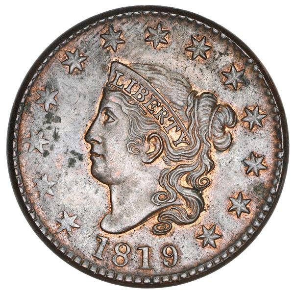 USA (Philadelphia mint), copper Coronet Head 1 cent, 1819/8, large date, NGC MS 62 BN.