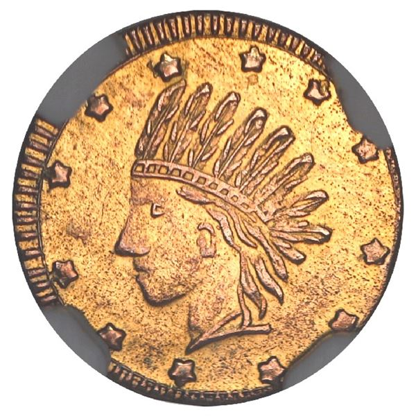 USA, California fractional gold token, dated 1853, Indian, wreath #1, 12 stars, round, NGC MS 64, fi
