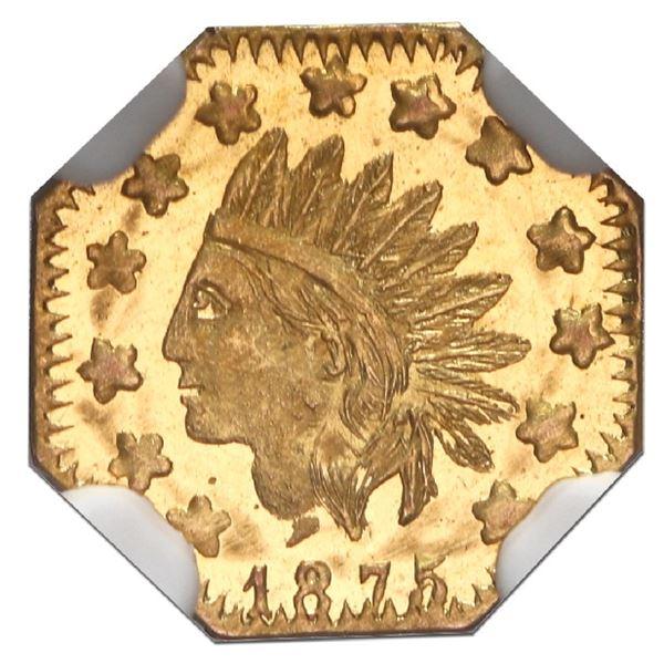 """USA, California fractional gold token, dated 1875, Indian, wreath #7, """"1/2,"""" octagonal, NGC MS 66 DP"""
