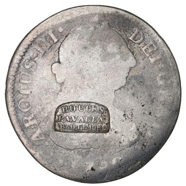 Baltimore, USA, silver token, HOUCK'S / PANACEA / BALTIMORE counterstamp (ca. 1836) on a Mexico City