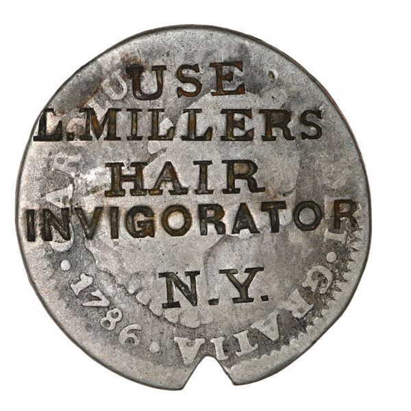 New York City, USA, silver token, USE / L. MILLERS / HAIR / INVIGORATOR / N.Y. counterstamp (ca. 184