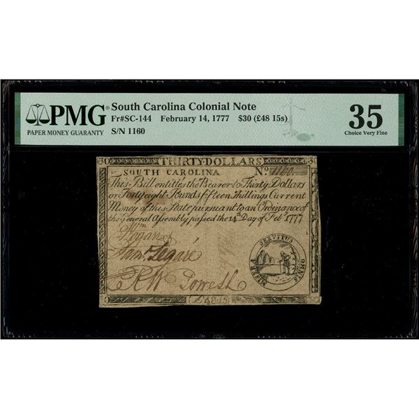 South Carolina, $30, Feb. 14, 1777, serial 1160, PMG Choice VF 35.