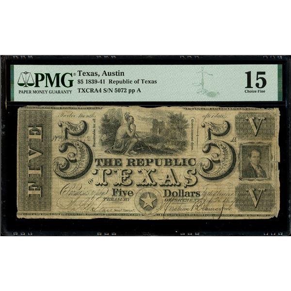 Austin, Texas, Republic of Texas, $5, Jan. 25, 1840, serial 5072, PMG Choice Fine 15.