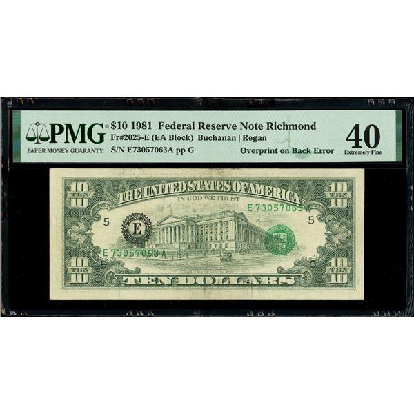 USA (Washington, D.C.), $10, series 1981, serial E73057063A, Buchanan-Regan, overprint on back error