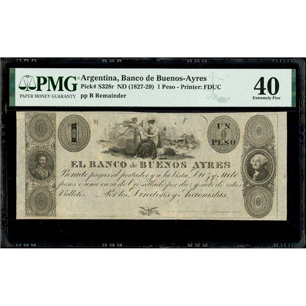 Buenos Aires, Argentina, Banco de Buenos Ayres, 1 peso remainder, no date (1827-29), Bolivar & Washi