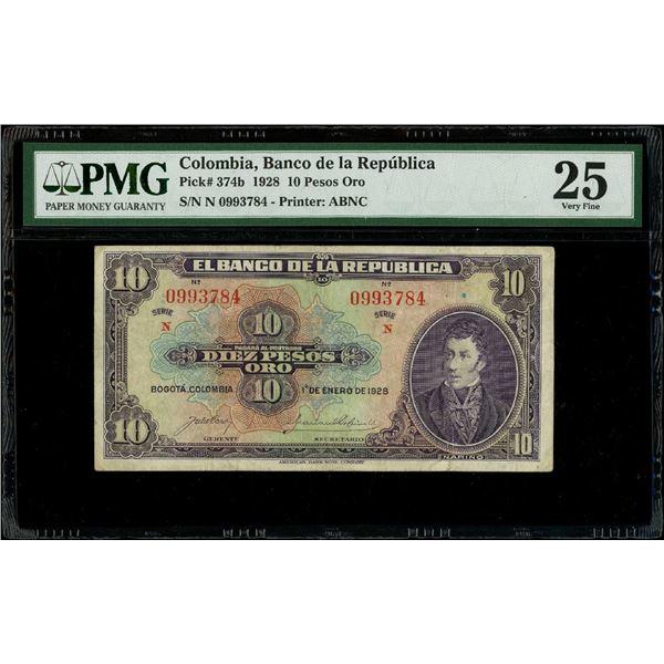 Bogota, Colombia, Banco de la Republica, 10 pesos oro, 1-1-1928, series N, serial 0993784, PMG VF 25