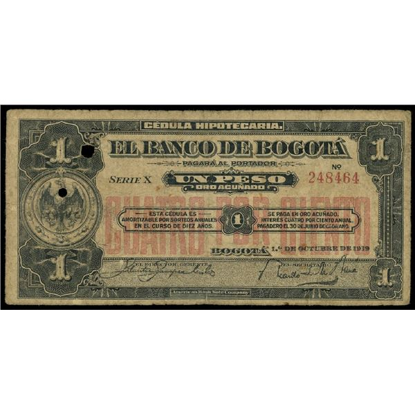 Bogota, Colombia, Banco de Bogota, 1 peso, 1-10-1919, serial 248464.