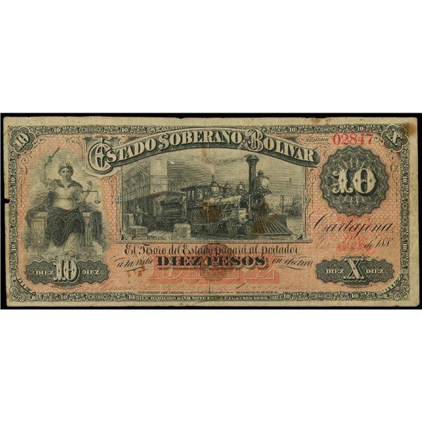 Cartagena, Colombia, Estado Soberano de Bolivar, 10 pesos, 9-11-1885, serial 02847.