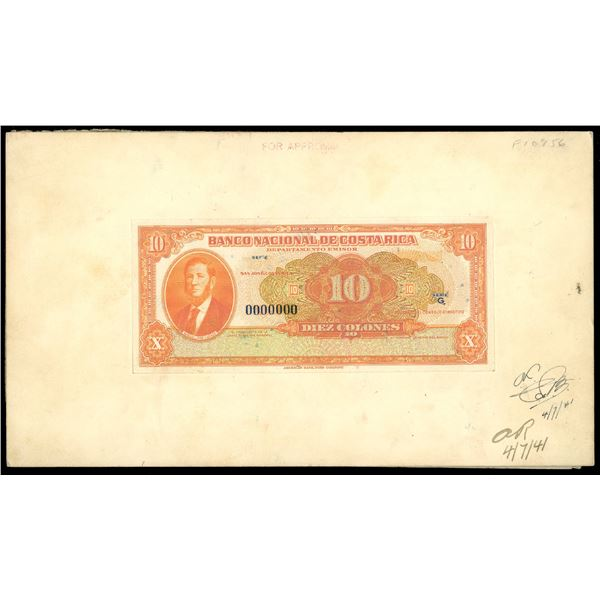 San Jose, Costa Rica, Banco Nacional, 10 colones front progress proof, ND (1942-49), mounted on thic