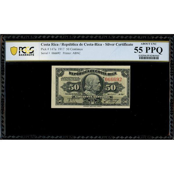 San Jose, Costa Rica, Republica de Costa Rica, 50 centimos, 11-10-1917, serial 066692, PCGS AU 55 PP
