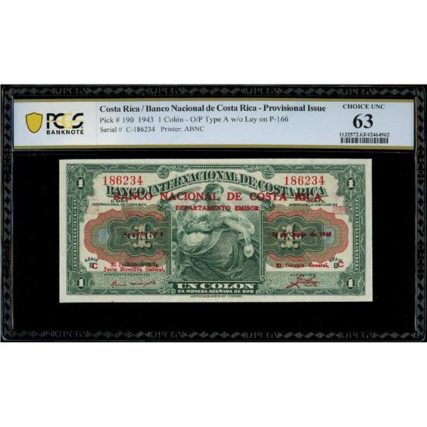 San Jose, Costa Rica, Banco Nacional de Costa Rica, 1 colon, 23-6-1943, series C, serial 186234, red