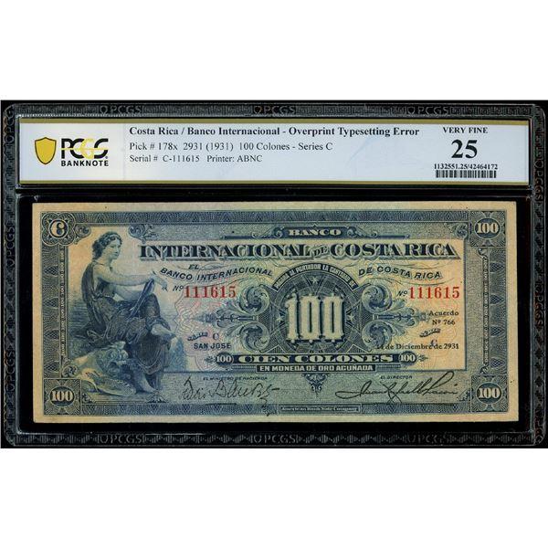 San Jose, Costa Rica, Banco Internacional de Costa Rica, 100 colones, 14-12-2931 (1931), series C, s