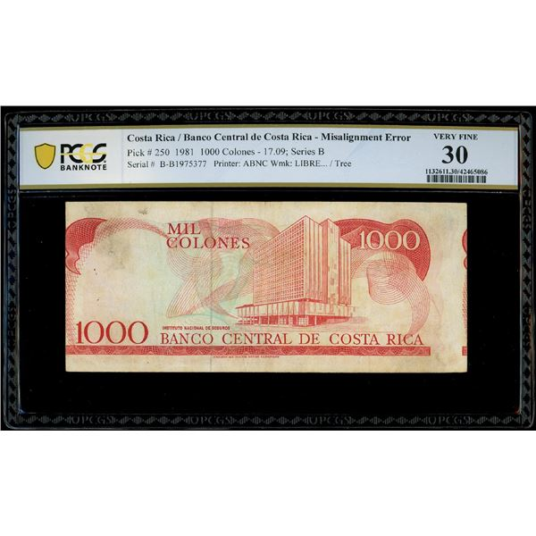 San Jose, Costa Rica, Banco Central, 1000 colones, 17-9-1981, serial B1975377, misaligned reverse er