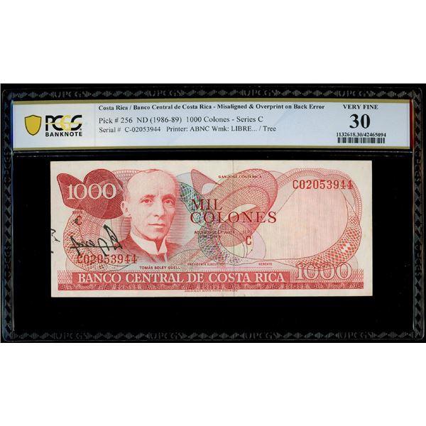 San Jose, Costa Rica, Banco Central, 1000 colones, date not visible (1986-89), serial E29350909, mis