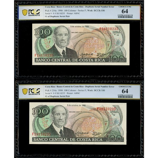 Lot of two San Jose, Costa Rica, Banco Central, 100 colones, 5-10-1990, serials F18110235, duplicate