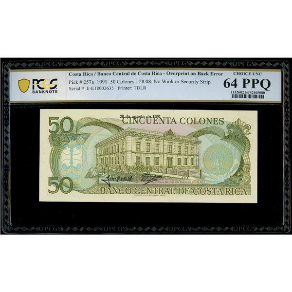 San Jose, Costa Rica, Banco Central, 50 colones, 28-8-1991, serial E18002635, overprint on back erro