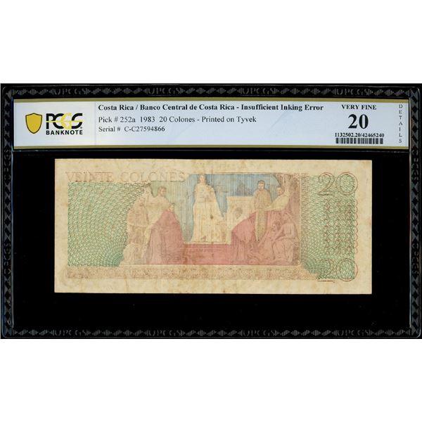 San Jose, Costa Rica, Banco Central, 20 colones, 7-4-1983, serial C27594866, insufficient inking err