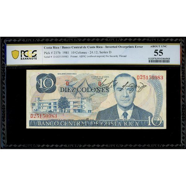San Jose, Costa Rica, Banco Central, 10 colones, 24-12-1981, serial D25150983, inverted overprints e